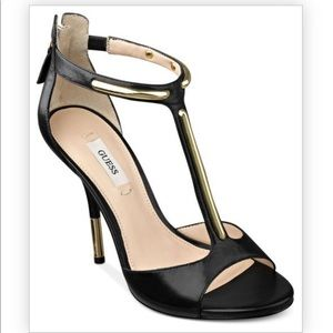 ❤️Guess kathee 3 heels black 7M gold accent